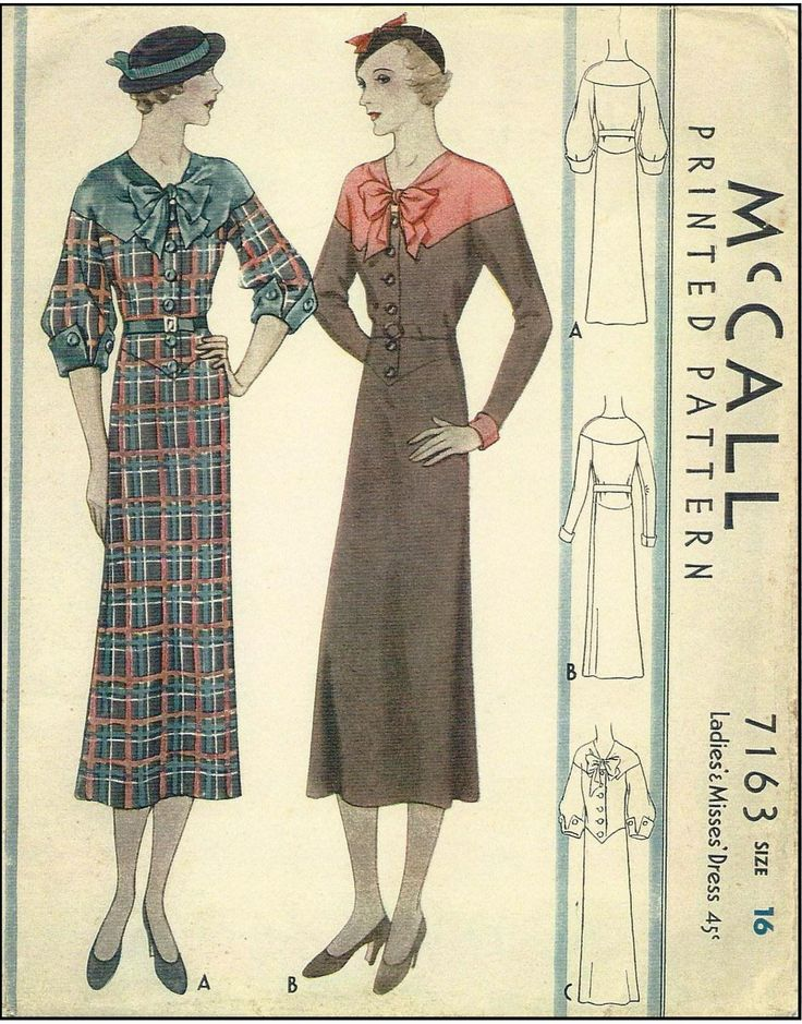 1930s Ladies Button Front Dress With Interesting Neckline - Sewing Pattern…