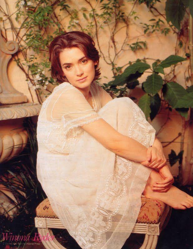 Winona Ryder in a pretty white dress