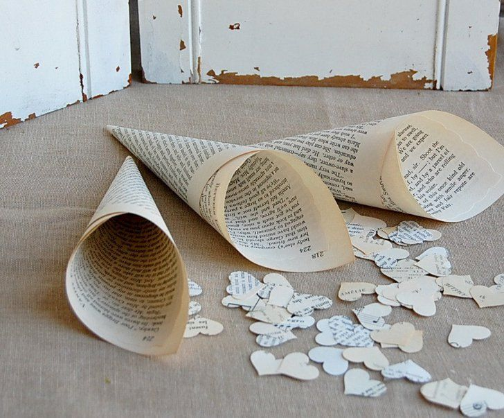 Pin for Later: 21 Uses For Old Books Wedding Paper Cones Use old book pages to make vintage-style wedding paper cones to hold your confetti.