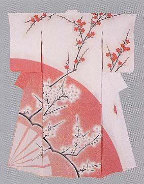 "Formal Kimono with yuzen-zome pattern ""Dance of Flowers"" by Moriguchi Kako, Japanese National Living Treasure"
