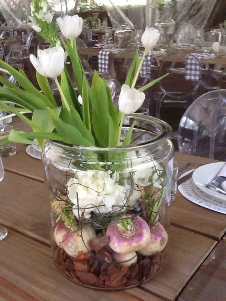 Special flowers for the brides table.