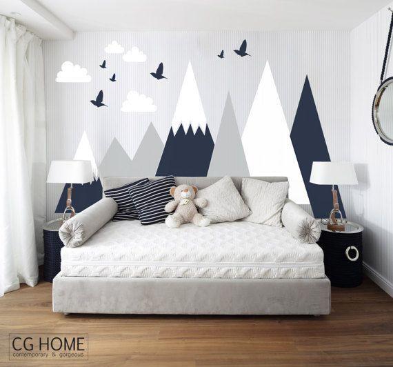 Berge Wandtattoo Wald Baby Zimmer Aufkleber Wolken Kleinkinder benutzerdefinierte personalisierte waschbar Kopfteil Aufkleber Kindergarten # mountains001