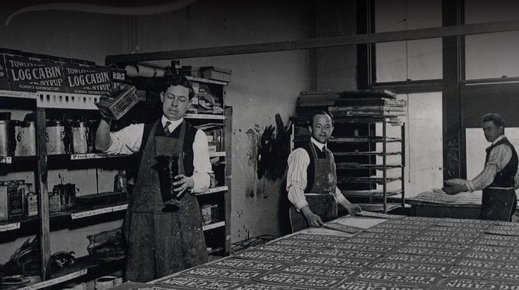 The First Known Photo of a Screenprinting Shop - Velvetone Poster Company, San Francisco, 1913. Courtesy Brant Family Archives