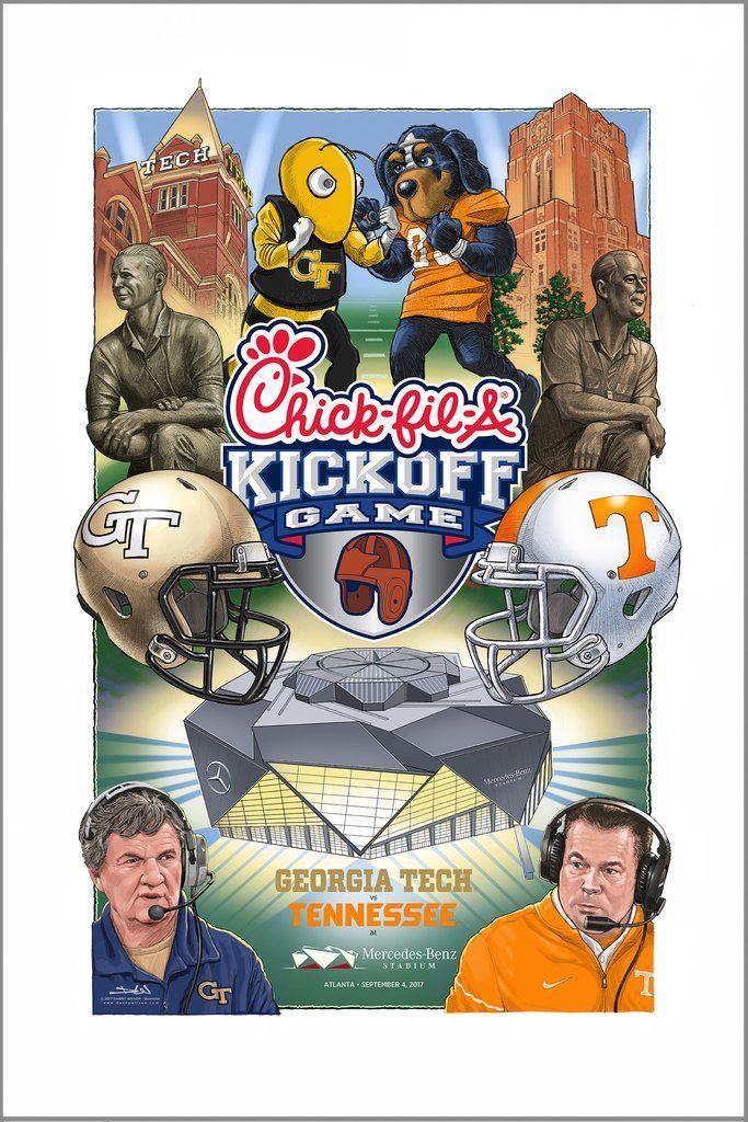 2017 ChickFilA Kickoff Game poster - Georgia Tech vs Tennessee