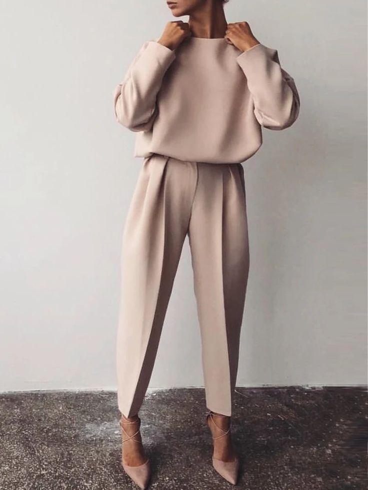Apricot Solid Langarm Blusen & Tuniken – MODETALENTE