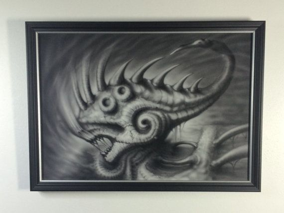 Giger inspired alien fish painting