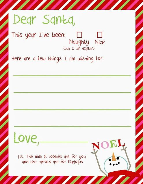 Letter to Santa Free Christmas Printable ~ A Great Holiday - free printable christmas list template