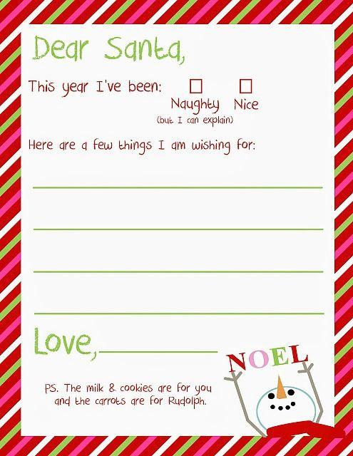 Free Printable Letter to Santa... just print and enjoy!   #Christmas  #LetterToSanta