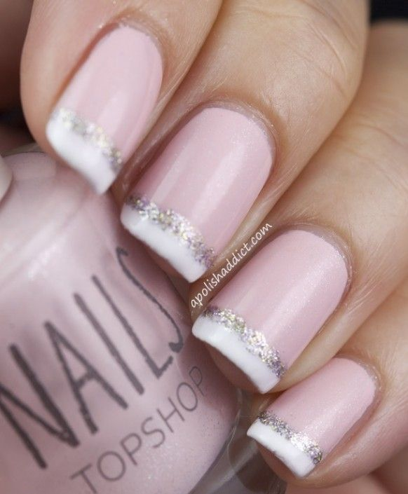 French Manicure With Sparkles