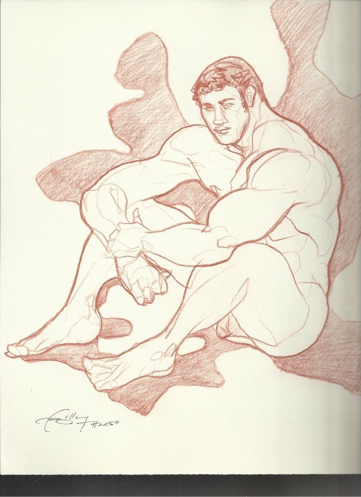 MUSCLE HUNK NUDE PHYSIQUE POSE STUDY no8 orig gay art BTHRASH