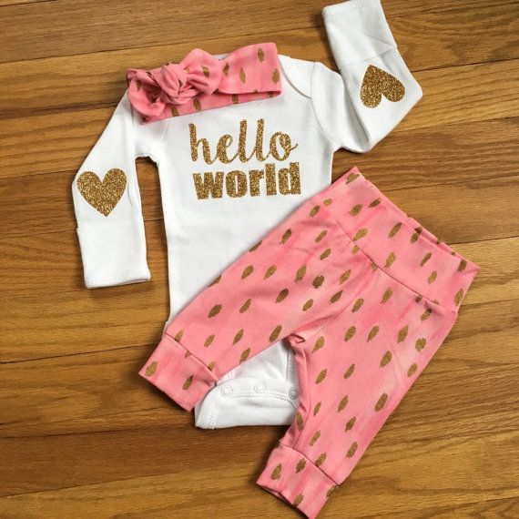 Baby girl coming home outfit Pink and Gold Theme hello world going home set baby shower gift going home from hospital outfit for new baby