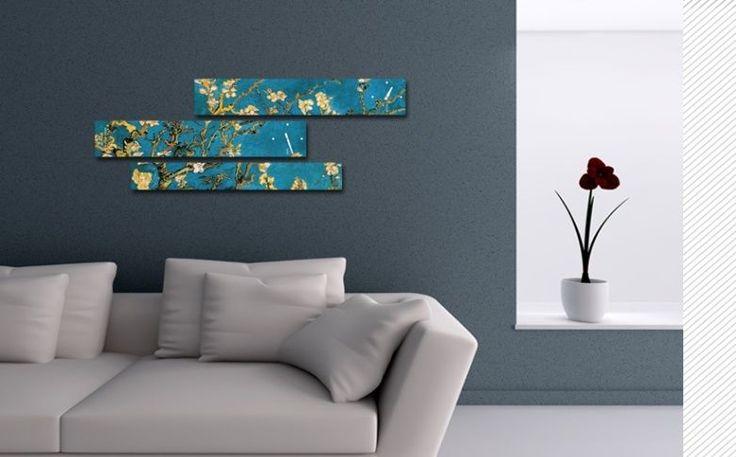 Interior Wall Clock Gogh Almond Blossom, Modern Luxury 3pcs Framed Wall Art   #LEMONART #ArtDeco