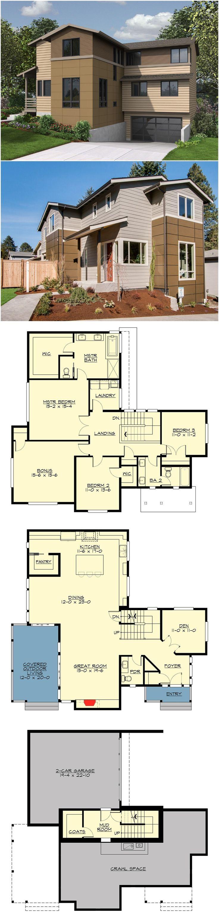 Plan 23634JD Northwest House Plan with Drive Under