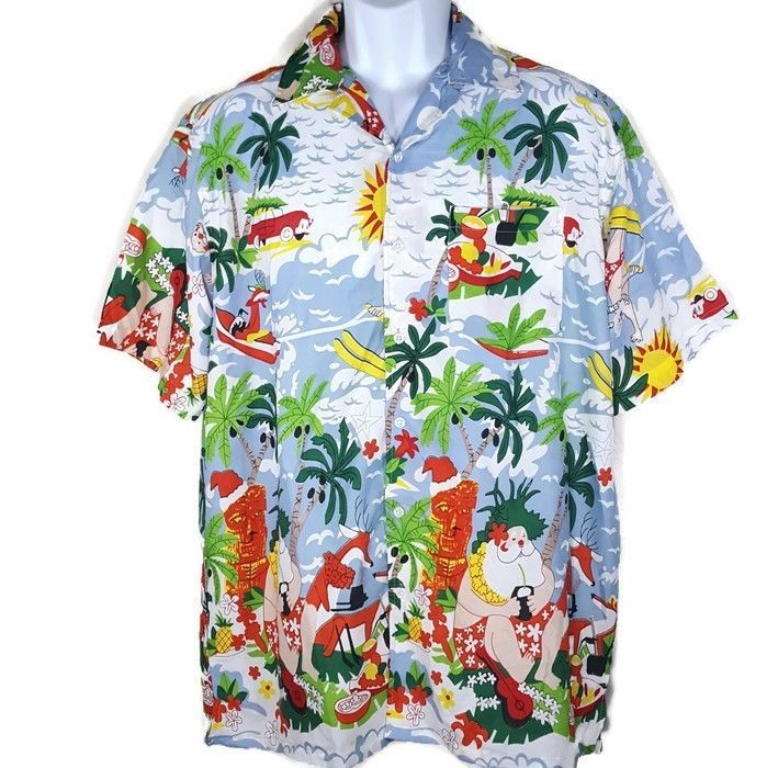 86f09216c0ae WAIKIKI CREATIONS Men's Size L Large Santa Christmas Tiki Surf Hawaiian  Shirt #WaikikiCreations #Hawaiian