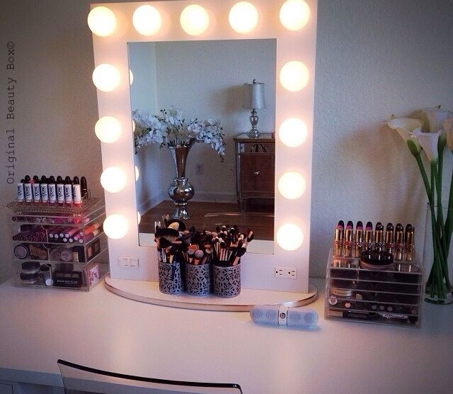 Beautiful vanity setup by YouTube beauty guru Jaclyn Hill, with her Original Beauty Box on the right. www.originalbeautybox.com