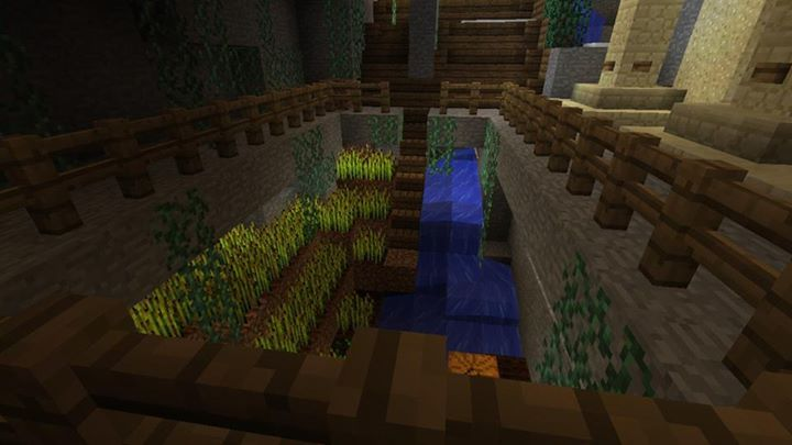 Minecraft garden design sunken waterfall fed farmland this modern minecraft house - Minecraft garden designs ...