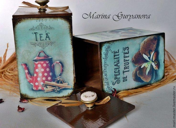 """Корзины, коробы ручной работы. Ярмарка Мастеров - ручная работа Набор коробков для сыпучих """"Горький шоколад -сладкий чай"""". Handmade."""