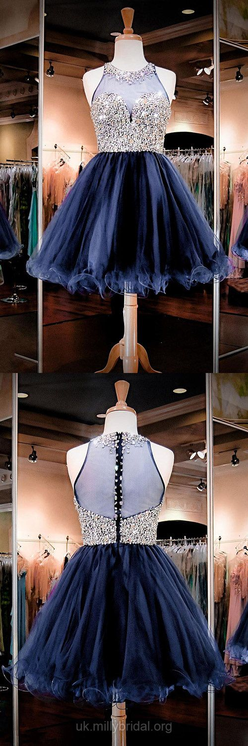 Short Prom Dresses Blue, 2018 Prom Dresses For Teens, A-line Cocktail Dresses Scoop Neck, Tulle Homecoming Party Dresses Crystal Detailing