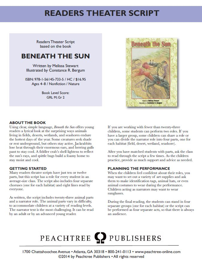 Readers Theater based on this book: http://peachtree-online.com/pdfs/BeneaththeSunRT.pdf#zoom=70