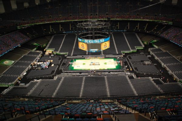 Final Four court in New Orleans waiting for the Jayhwaks