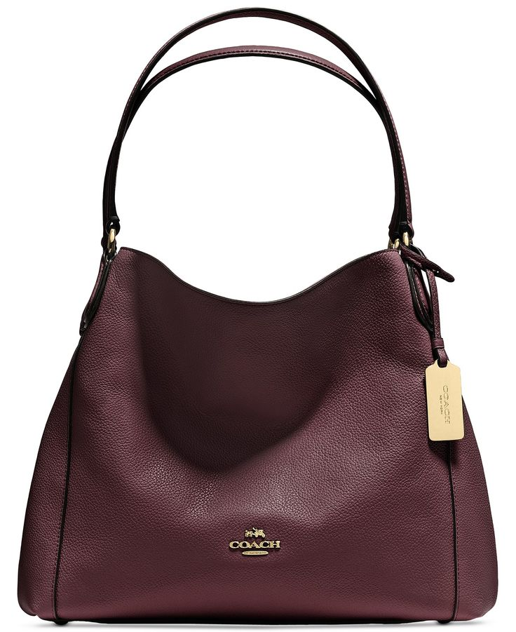 COACH EDIE SHOULDER BAG 31 IN REFINED PEBBLE LEATHER - COACH - Handbags & Accessories - Macy's (Oxblood + Gold)