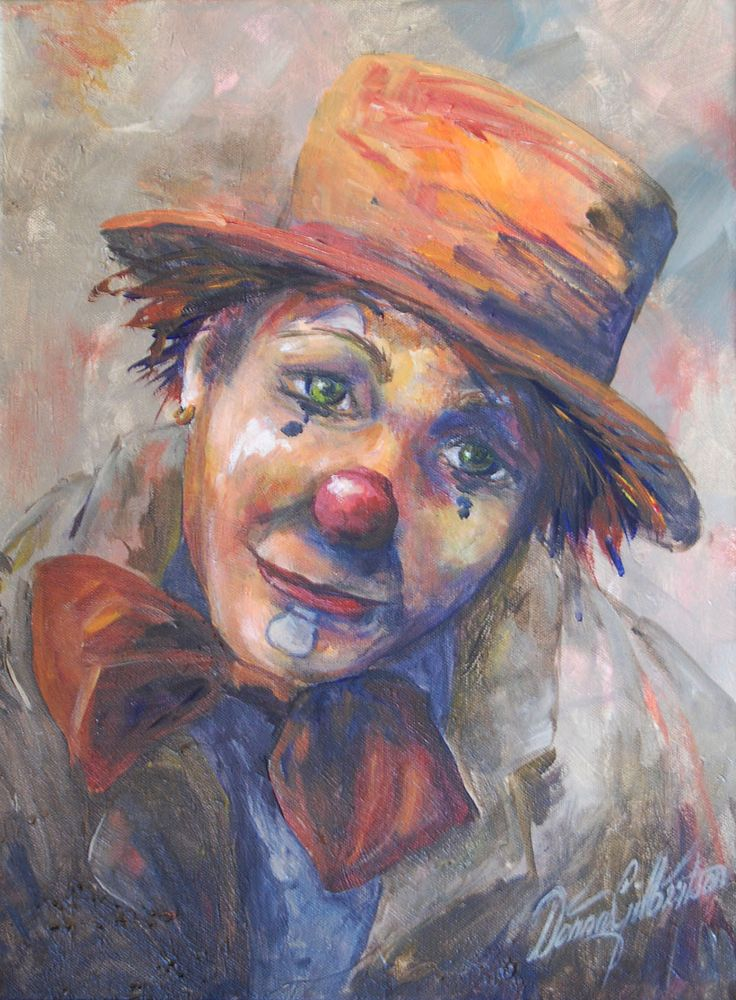 Sad female clown painting