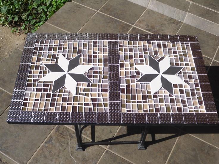 unique design mosaic coffee table with glass mosaics and ceramics. Cyril@muzaicdezignz.co.za