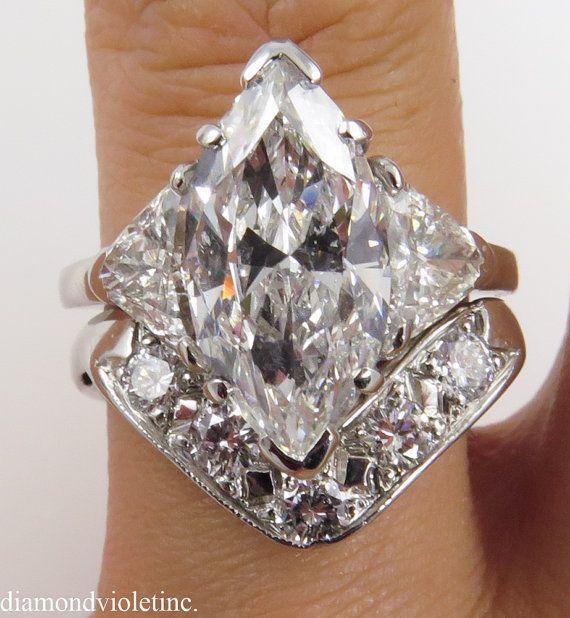 5.29ct Estate Vintage Marquise Diamond Engagement by DiamondViolet, $23250.00