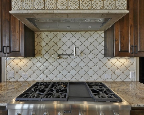 I like this tile backsplash but in a diff color for the for Spanish style kitchen backsplash
