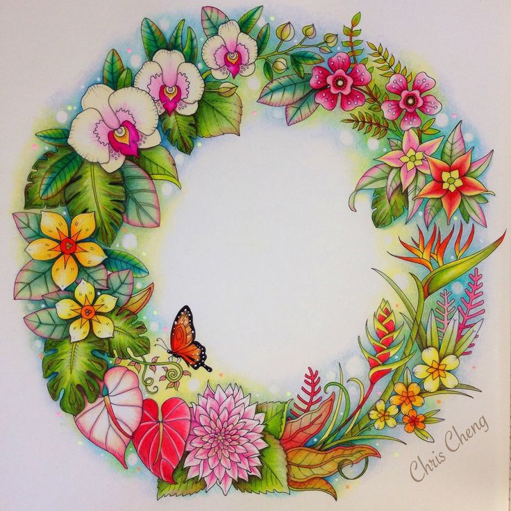 Completed Magical Jungle Wreath Video Tutorial By Chris Cheng Posted On My Board Flower WreathsColouringAdult ColoringColoring BooksOcean