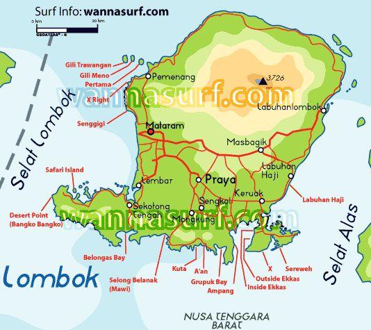 kaart van Lombok  '88 huwelijksreis naar Indonesië met een start in Singapore, daarna Sumatra, Java, Lombok, Bali en Sulawesi. Wat een ervaring!
