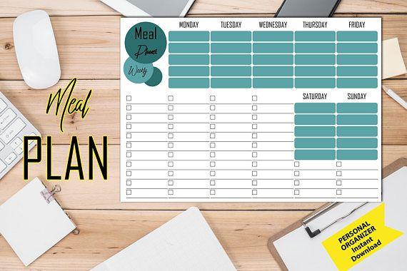 Weekly Meal Planner Planner pdf Planner stampabile Menu