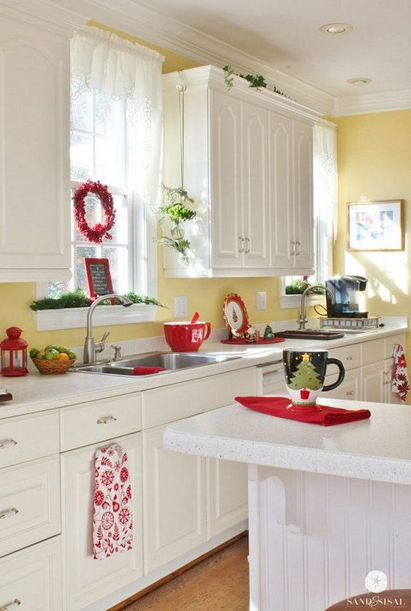 christmas kitchen coastal christmas yellow kitchens yellow walls