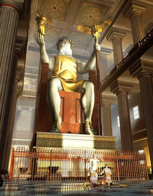 A digital recreation of the statue of Zeus that resided in a temple on Mount Olympia