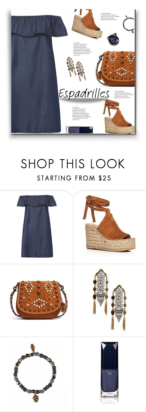 """Step Into Summer"" by yummymummystyle ❤ liked on Polyvore featuring Dorothy Perkins, Sigerson Morrison, Coach 1941, Shashi, Hultquist, Clé de Peau Beauté, Christina Choi Cosmetics, chambray, MyStyle and espadrilles"
