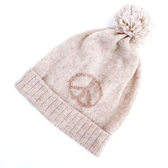 Beanie with peace sign by NordicKnit on Etsy