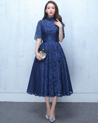 11f1deeece278 ドレス-ミニ・ミディアム 結婚式 パーティー レース ハイネック ワンピース ドレス 3色(2)