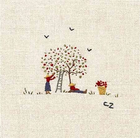 Caroline Zoob Apple Picking embroidery. Available on our ceramics.