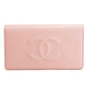 シャネルスーパーコピー財布 二つ折り ココマーク レザー キャビア ライトピンク A48651 CAVIAR LIGHT PINK