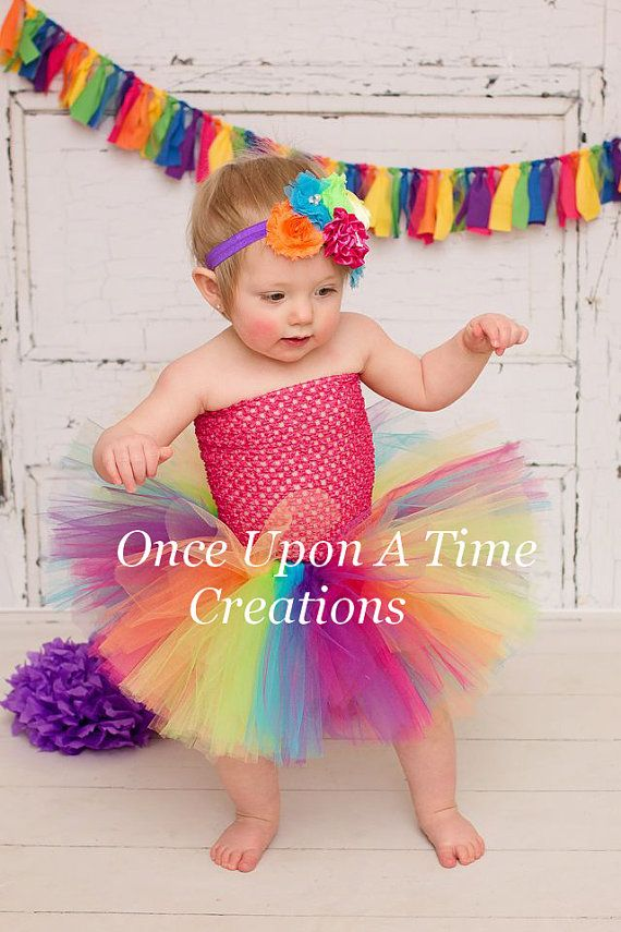 Infant Candy Rainbow Bright Couture Tutu or Dress -  Newborn 3 6 9 12 18 24 Months 3T 4 T 5  6 - Photo Prop, Halloween Circus Clown Costume on Etsy, $24.99