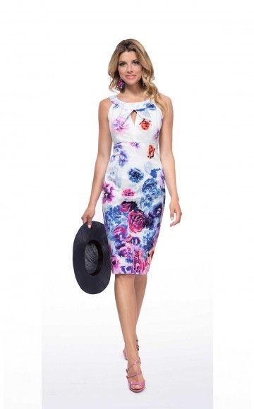 Michaela Louisa 8407, Floral Print Cotton Dress. Ladies smart day dress and occasion dress at Blessings Occasion Wear Boutique, Brighton, East Sussex. BN1 5GG. Telephone: 01273 505766