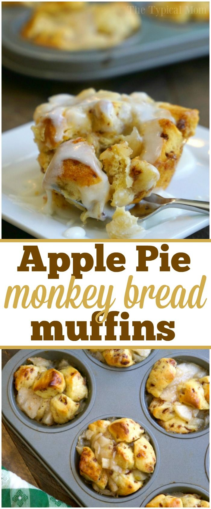 These 2 ingredient apple pie monkey bread muffins are amazing! A quick breakfast or dessert that just takes 15 minutes to make. You've got to try them! via @thetypicalmom