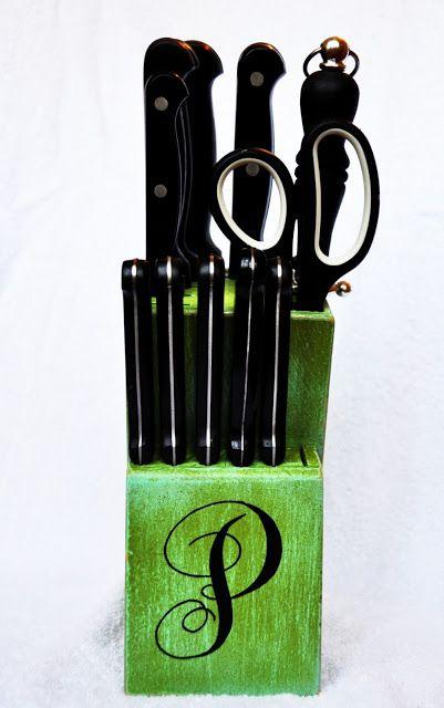 Painted knife block ~ cute idea