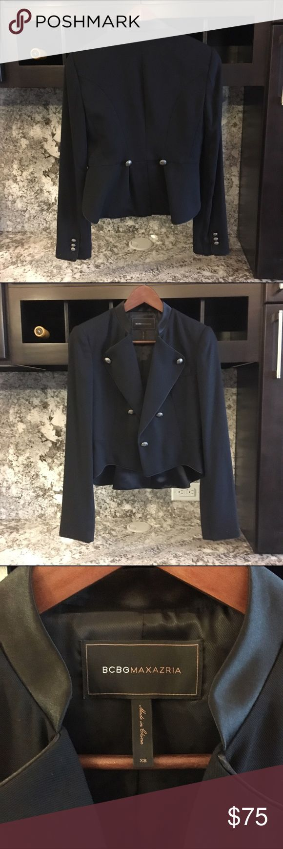 {BCBG} Black Military Style Blazer This military style blazer is fitted with beautifully detailed bronze buttons. Amazing BCBGMAXAZRIA quality! I'm selling because I need a size smaller. Like new, no signs of wear or damage. BCBGMaxAzria Jackets & Coats Blazers
