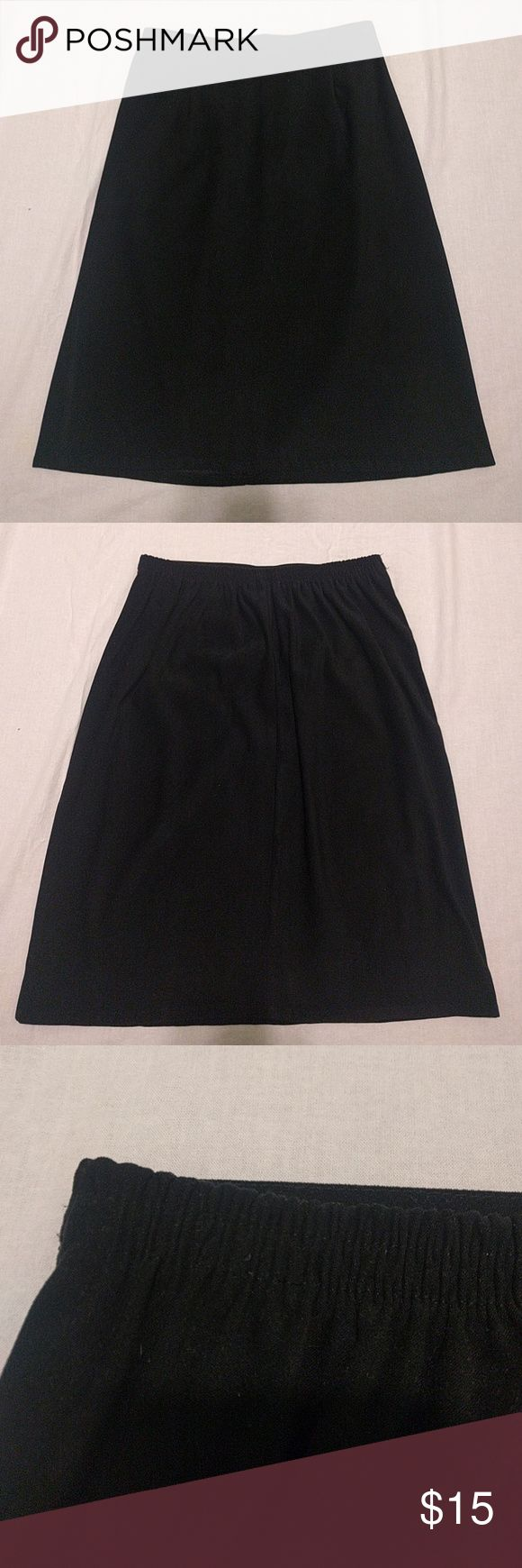 Long Black Pencil Skirt Soft suede like stretchy material. Elastic back waistband.   Waist 14 in Hips 19.5 in Length 23 in CLIO Skirts Pencil