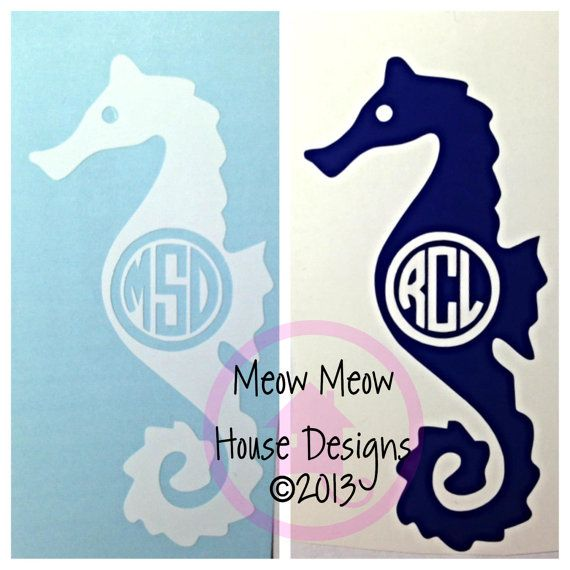 Select Your Size  Seahorse with Monogram by MeowMeowHouseDesigns