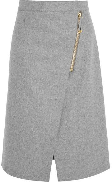 Acne Studios - Wrap-effect Brushed-twill Skirt - Light gray
