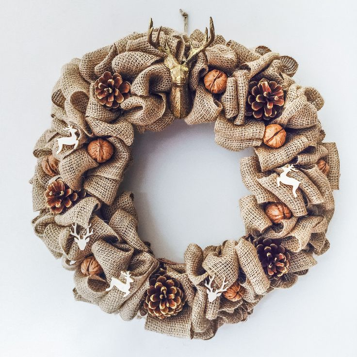 Hessian Reindeer Christmas Wreath