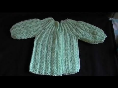 ▶ How to Crochet a Baby Sweater/Cardigan - Cat's One Piece Wonder 5 of 5 - YouTube (bobwilson123)