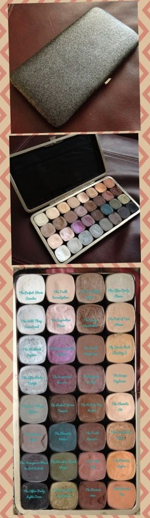 DIY bareMinerals Palette. I started with a clutch wallet, cut out the inside fabric, placed magnets using hot glue, and finally placed de-potted bareMinerals eyeshadows. Holds 32 eyeshadows pans.